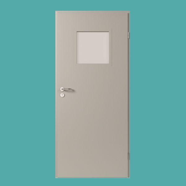 metallt r mit kleinem glasausschnitt konstruktion aus. Black Bedroom Furniture Sets. Home Design Ideas